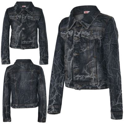 Kids Girls Denim Jackets Tie Dye Print Black Faded Jeans Jacket Stylish Coats.