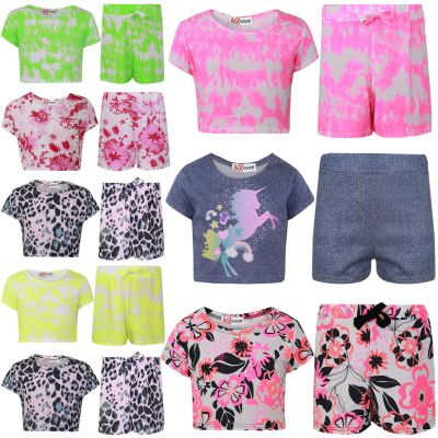 A2Z Trendz Kids Girls Crop Top & Shorts Floral Tie Dye Leaopard Unicorn Print Trendy Fashion Summer Outfit Short Set New Age 7 8 9 10 11 12 13 Years