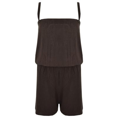 Kids Girls Plain Brown Color Playsuit Trendy All In One Jumpsuit New Age 5-13 Yr