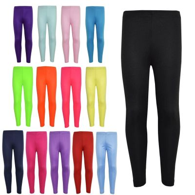 Gilrs Legging Kids Plain Color School Fashion Dance Leggings New Age 5 6 7 8 9 10 11 12 13 Years
