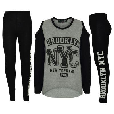 A2Z Trendz Girls Top Kids Brooklyn NYC New York Chic 1985 Print Trendy Top & Fashion Legging Set Age 7 8 9 10 11 12 13 Years