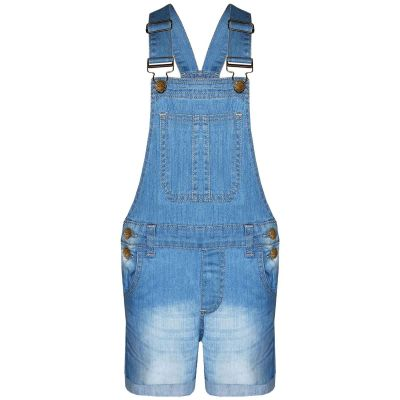 A2Z Trendz Kids Girls Dungaree Shorts Designer's Light Blue Denim Stretch Jeans Jumpsuit Playsuit All In One Age 5 6 7 8 9 10 11 12 13 Years