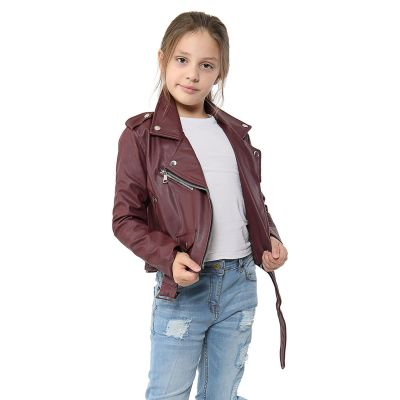 A2Z Trendz Kids Jackets Girls Designer's PU Leather Wine Jacket Fashion Zip Up Biker Trendy Belted Coat Overcoats New Age 5 6 7 8 9 10 11 12 13 Years