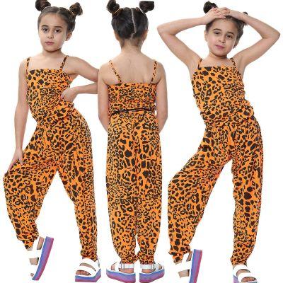 Kids Girls Jumpsuit Leopard Print Neon Orange Trendy Fahsion All In One Playsuit