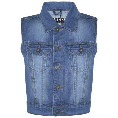 A2Z Trendz Kids Boys Denim Mid Blue Jacket Designer's Fashion Jeans Gilet Faded Stylish Sleeveless School Jackets Coats New Age 3 4 5 6 7 8 9 10 11 12 13 Years