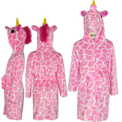 A2Z Trendz Kids Girls Bathrobes Designer's 3D Animal Giraffe Pink Hooded Soft Short Fleece Dressing Gown Nightwear Loungewear Age 2-13 Years