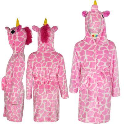 A2Z Trendz Kids Girls Bathrobes Designer's 3D Animal Giraffe Pink Hooded Soft Short Fleece Dressing Gown Nightwear Loungewear Age 2-13 Years
