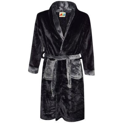 A2Z Trendz Kids Girls Boys Bathrobes Designer Plain Black Soft Short Dressing Gown Nightwear Loungewear Age 2-13 Years