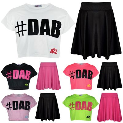 Kids Girls Crop Top #DAB Trendy Stylish Floss Fashion T Shirt & Skirt Set 5-13Yr