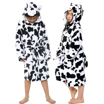 Unisex Girls Boys Bathrobe 3D Animal Cow Dressing Gown.