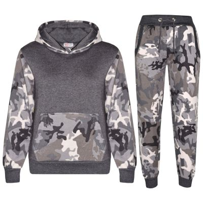 A2Z Trendz Kids Boys Girls Tracksuit Designer's Camouflage Charcoal Contrast Panel Zipped Top Hoodie & Botom Jogging Suit Age 7 8 9 10 11 12 13 Years