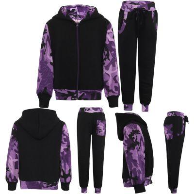 Girls Camouflage Print Tracksuit Fleece Hooded Hoodie Bottom Jogging Suit