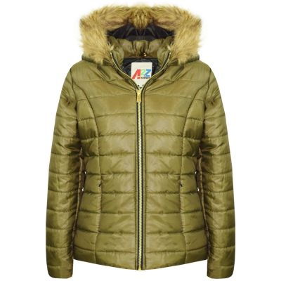 A2Z Trendz Kids Girls Jacket Olive Puffer Hooded Padded Quilted Faux Fur Detachable Hood Warm Thick Coats New Age 5 6 7 8 9 10 11 12 13 Years