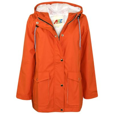 A2Z Trendz Kids Girls Boys PU Raincoat Jackets Designer's Orange Windbreaker Waterproof Cagoule Hooded Rainmac Shower Resistant Coats Age 5 6 7 8 9 10 11 12 13 Years