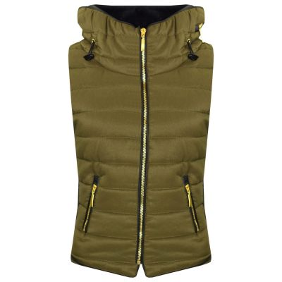 A2Z Trendz Kids Girls Boys Designer's Olive Sleeveless Hooded Padded Quilted Puffer Bubble Gilet Bodywarmer Jackets 5 6 7 8 9 10 11 12 13 Years