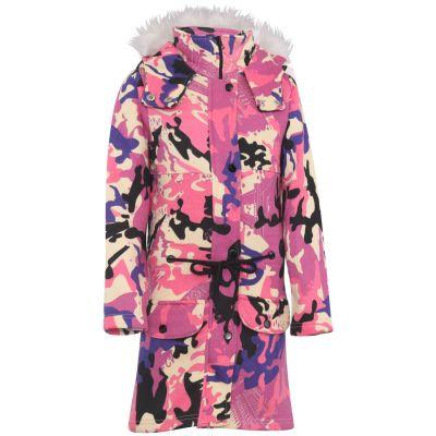 Kids Girls Hooded Jacket Faux Fur Long Parka Camouflage Baby Pink School Jackets Outerwear Coats