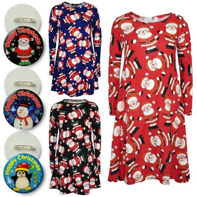 A2Z Trendz Girls Christmas Dress Kids Santa Print New Xmas Fashion Dresses With A Free Xmas Badge New Age 3 4 5 6 7 8 9 10 11 12 13 Years