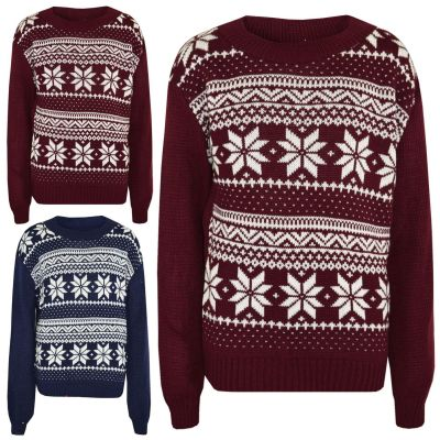 A2Z Trendz Kids Christmas Jumper Girls Boys Novelty Snowflake Print Xmas Sweater New Age 5 6 7 8 9 10 11 12 Years