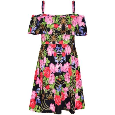 A2Z Trendz Girls Skater Dress Kids Pink & Red Floral Print Summer Party Fashion Off Shoulder Dresses New Age 7 8 9 10 11 12 13 Years