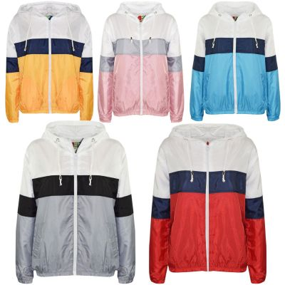 A2Z Trendz Kids Girls Boys Windbreaker Jackets Designer's Contrast Blocks Light Weight Waterproof Hooded Cagoule Rain Mac Raincoat Age 5 6 7 8 9 10 11 12 13 Years