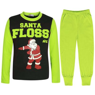 Kids Girls Boys Pyjamas Trendy Santa Floss Lime Xmas Gift Loungewear Pjs Outfits