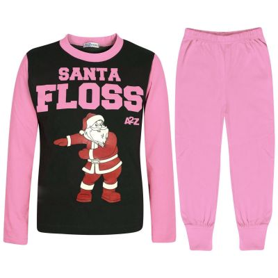Kids Girls Boys Pyjamas Trendy Santa Floss Baby Pink Xmas Gift Loungewear Outfit