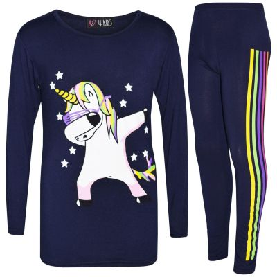 A2Z Trendz Kids Girls Designer's Rainbow Unicron Dab Floss Navy Long Sleeves Top & Legging Lounge Wear Xmas Outfit Set New Age 7 8 9 10 11 12 13 Years