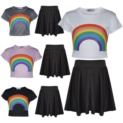 A2Z Trendz Kids Girls Crop Top & Skirt Sets Designer's Rainbow Print Trendy Floss Fashion Belly Shirt & Skirts Trendy T Shirt Tops Tees & Bottom Set New Age 5 6 7 8 9 10 11 12 13 Years