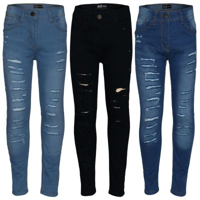 A2Z Trendz Kids Girls Stretchy Denim Jeans Designer's Ripped Faded Fashion Jeggings Skinny Pants Stylish Trousers New Age 5 6 7 8 9 10 11 12 13 Years