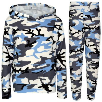 A2Z Trendz Kids Girls Tracksuits Designer's Two Piece Camouflage Blue Hooded Top Bottom Casual Loungewear Lounge Suit Nightwear Legging Outfit Sets New Age 7 8 9 10 11 12 13 Years