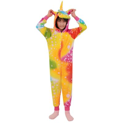 A2Z Trendz Kids Girls Unicorn Onesie Extra Soft Fluffy Stars Print Rainbow All In One Halloween Costume New Age 2 3 4 5 6 7 8 9 10 11 12 13 Years