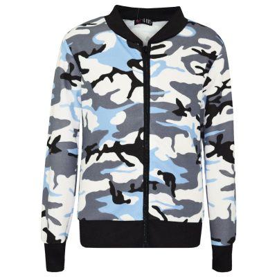 A2Z Trendz Kids Girls Jacket Designer's Camouflage Print Sky Blue Jackets Tops Zipped Fashion Coats New Age 7 8 9 10 11 12 13 Years