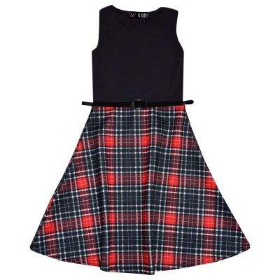 A2Z Trendz Girls Skater Dress Kids Designer's Tartan Print Contrast Panel Summer Party Dresses With A Free Belt New Age 7 8 9 10 11 12 13 Years