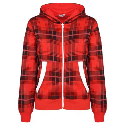 A2Z Trendz Kids Jacket Boys Girls Tartan Print Fleece Hooded Hoodie Zipped Top Jackets New Age 5 6 7 8 9 10 11 12 13 Years
