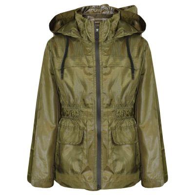 A2Z Trendz Girls Boys Raincoats Jackets Kids Olive Light Weight Waterproof Kagool Hooded Jacket Cagoule Rain Mac Thin Coats New Age 5 6 7 8 9 10 11 12 13 Years