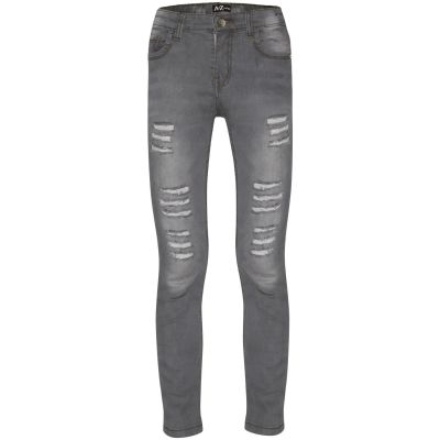 A2Z Trendz Kids Girls Skinny Jeans Designer's Denim Ripped Fashion Stretchy Jeggings Pants Stylish Grey Trousers New Age 5 6 7 8 9 10 11 12 13 14 Years