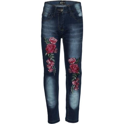 A2Z Trendz Kids Girls Stretchy Jeans Designer's Rose Embroidered Dark Blue Denim Pants Fashion Fit Trousers Jeggings New Age 3 4 5 6 7 8 9 10 11 12 Years