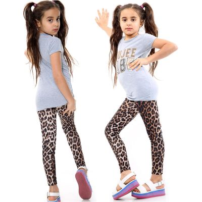 Girls Outfits Boujee Babe Print Grey Top Tees & Leopard Legging Sets.