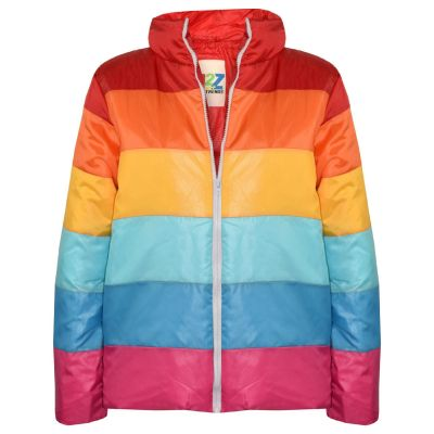A2Z Trendz Kids Girls Jacket Designer's Rainbow Padded Quilted Stylish Multi Color Block Puffer Jackets Warm Thick Coats Age 7 8 9 10 11 12 13 Years