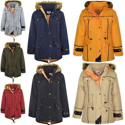 Kids Coat Girls DESIGNER'S Parka Jacket Long Faux Fur Back To School Hooded Top