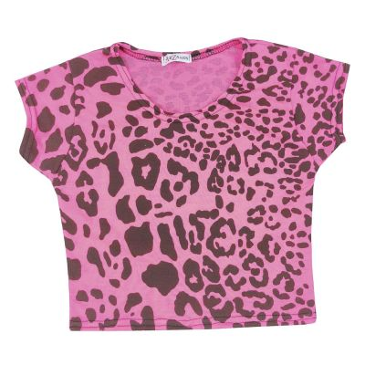 A2Z Trendz Kids Girls Crop Tops Leopard Print Neon Pink Stylish Fahsion Trendy T Shirt Tank Top & Tees New Age 5 6 7 8 9 10 11 12 13 Years