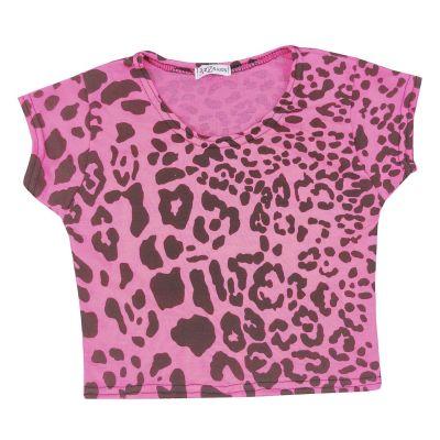 A2Z Trendz Kids Girls Crop Tops Leopard Print Neon Pink Stylish Fahsion Trendy T Shirt Tank Top & Tees New Age 5 6 7 8 9 10 11 12 13 Years