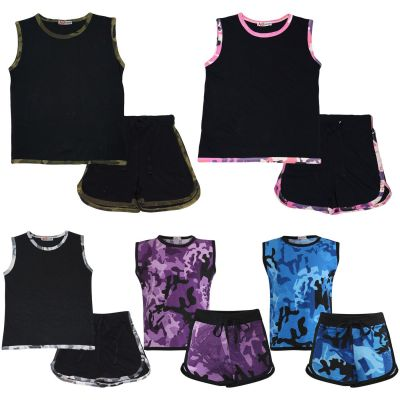 A2Z Trendz Kids Girls Shorts Set 100% Cotton Camouflage Taped Trendy Fashion Summer Vest Top And Short Outfit Set New Age 5 6 7 8 9 10 11 12 13 Years