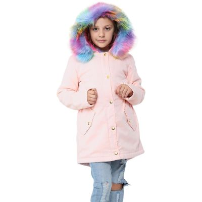 A2Z Trendz Kids Hooded Jacket Girls Rainbow Faux Fur Baby Pink Parka School Jackets Outwear Coat New Age 2 3 4 5 6 7 8 9 10 11 12 13 Years