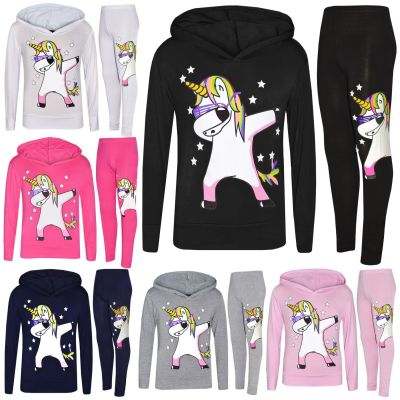 A2Z Trendz Kids Girls Tracksuit Designer's Rainbow Unicron Dab Floss Print Hooded Crop Top & Legging Lounge Wear Set New Age 7 8 9 10 11 12 13 Years