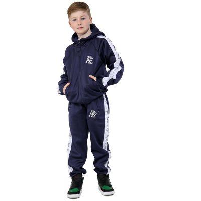 Kids Girls Boys A2Z Print Panelled Navy Tracksuits Hooded Top Bottom Sportswears