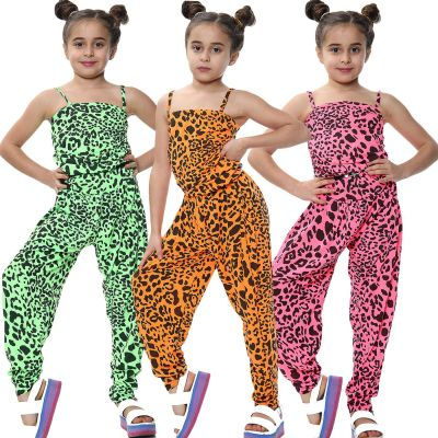 Kids Girls Jumpsuit Leopard Print Trendy Fashion Playsuit All In One Jumpsuits
