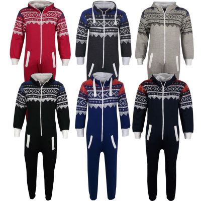 NEW KIDS GIRLS BOYS AZTEC SNOWFLAKE PRINT ONESIE ALL IN ONE JUMPSUIT SLEEPSUIT AGE 7 8 9 10 11 12 13 YEARS