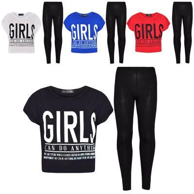 A2Z Trendz Girls Tops Kids Designer's Girls Can Do Anything Print Trendy Crop Top & Fashion Legging Set New Age 7 8 9 10 11 12 13 Years