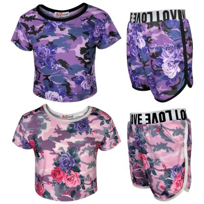 A2Z Trendz Kids Girls Shorts Set Camouflage Floral Print Trendy Fashion Summer Outfit Top & Short New Age 7 8 9 10 11 12 13 Years